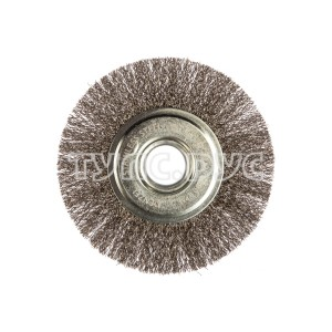Щетка Плоская (125х22.2 мм; витая нержавеющая проволока 0.3 мм) для УШМ DENZEL 746563