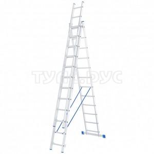 Алюминиевая трехсекционная лестница СИБРТЕХ 3х12 ступеней 97822
