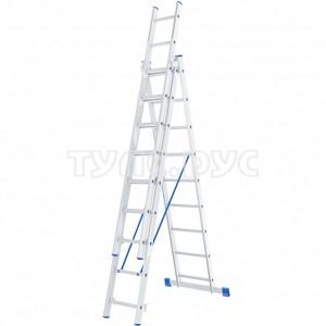 Алюминиевая трехсекционная лестница СИБРТЕХ 3х9 ступеней 97819