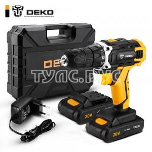 Аккумуляторная дрель 20В + набор 63 инструмента в кейсе Deko DKCD20FU-Li 063-4093