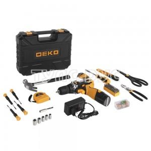 Аккумуляторная дрель DEKO DKCD12FU-Li в кейсе + набор инструментов для дома 104 шт 063-4112