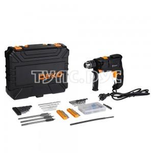 Сетевая ударная дрель DEKO DKID600W в пластиковом кейсе + набор инструментов 92 предмета 063-4157