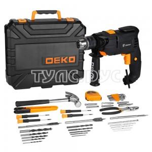 Ударная сетевая дрель DEKO DKID600W в пластиковом кейсе + набор инструментов 40 предметов 063-4158
