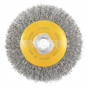 Щетка Тарелка (100 мм; М14; витая нержавеющая проволока 0.3 мм) для УШМ DENZEL 746083