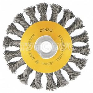 Щетка Тарелка (100 мм; М14; крученая нержавеющая проволока 0.5 мм) для УШМ DENZEL 746093