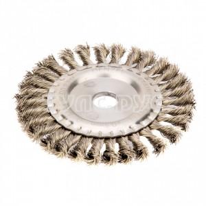 Щетка Плоская (150х22.2 мм; крученая нержавеющая проволока 0.5 мм) для УШМ DENZEL 746343