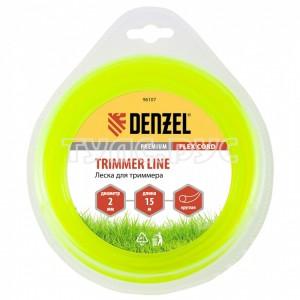Леска для триммера круг 2 мм х 15 м блистер FLEX CORD DENZEL 96107