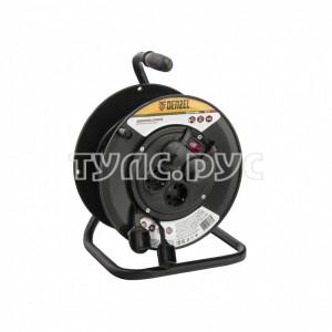 Силовой удлинитель на кабельной катушке DENZEL, ПВС, 25м, 4 розетки с крышкой, IP44, 16А, 95907
