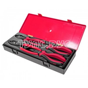 Набор губцевого инструмента (длинногубцы, бокорезы, клещи) в кейсе 4 предмета JTC /1 JTC-K5043